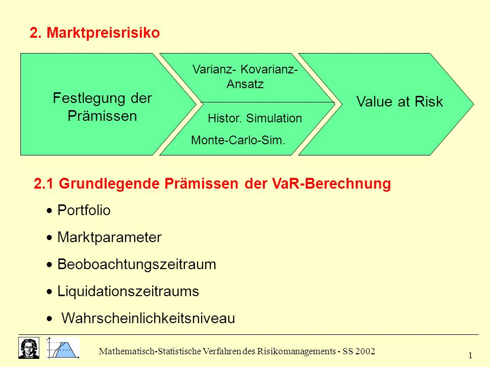 Mathematisch-Statistische Verfahren des Risikomanagements - SS 2002 22 Betrachtung mehrerer Parameter z.B.