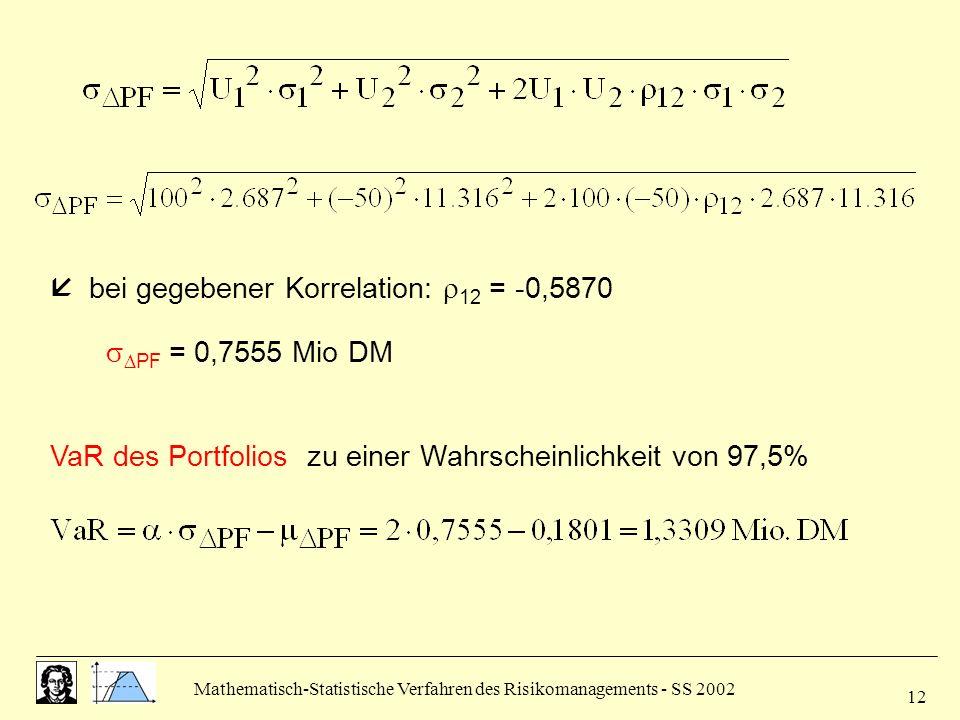 Mathematisch-Statistische Verfahren des Risikomanagements - SS 2002 12 VaR des Portfolios zu einer Wahrscheinlichkeit von 97,5% bei gegebener Korrelat