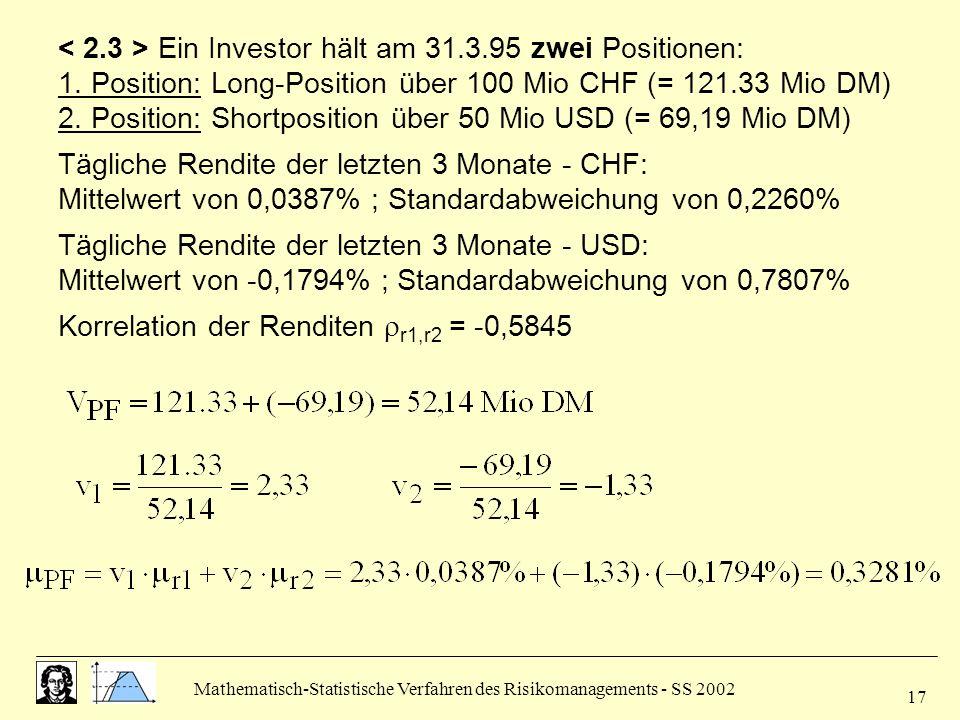 Mathematisch-Statistische Verfahren des Risikomanagements - SS 2002 17 Ein Investor hält am 31.3.95 zwei Positionen: 1. Position: Long-Position über 1