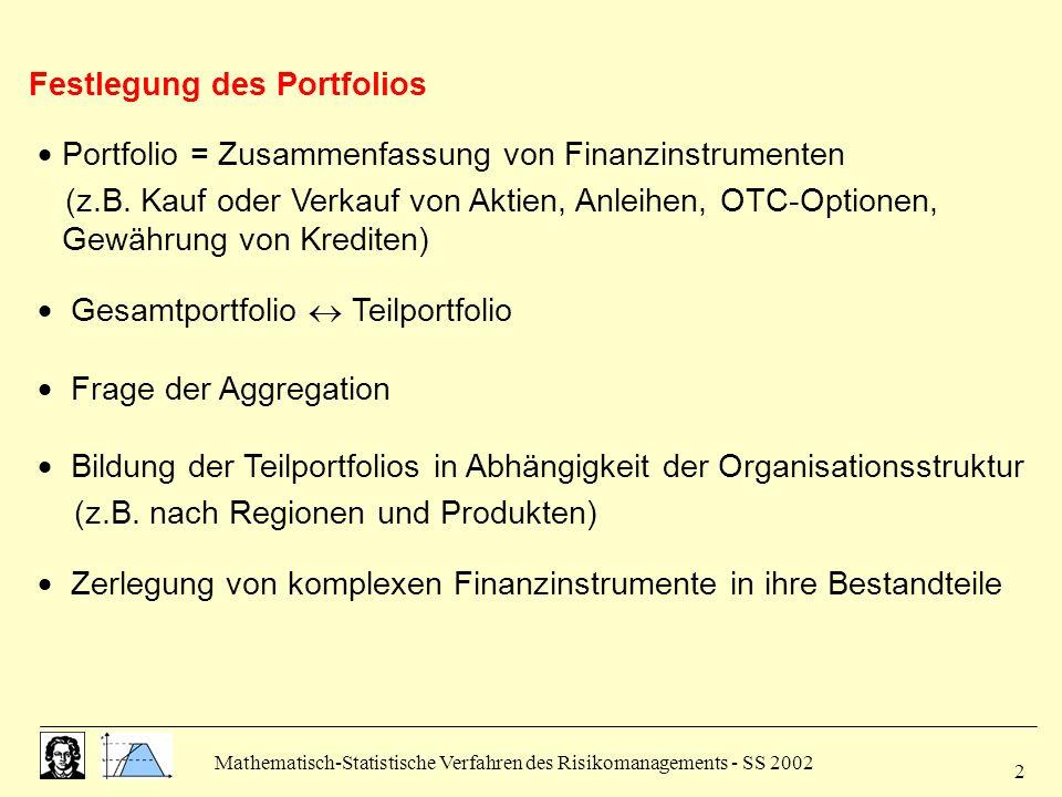 Mathematisch-Statistische Verfahren des Risikomanagements - SS 2002 2 Festlegung des Portfolios Portfolio = Zusammenfassung von Finanzinstrumenten (z.