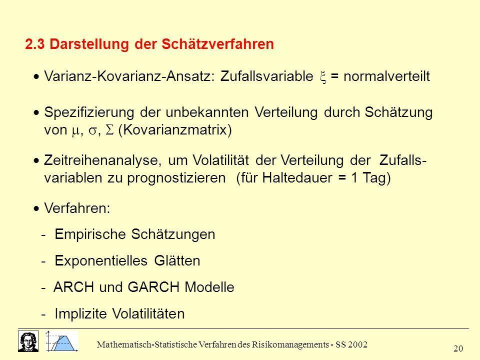 Mathematisch-Statistische Verfahren des Risikomanagements - SS 2002 20 2.3 Darstellung der Schätzverfahren Varianz-Kovarianz-Ansatz: Zufallsvariable =