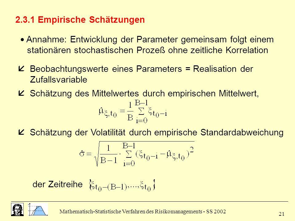 Mathematisch-Statistische Verfahren des Risikomanagements - SS 2002 21 2.3.1 Empirische Schätzungen Annahme: Entwicklung der Parameter gemeinsam folgt