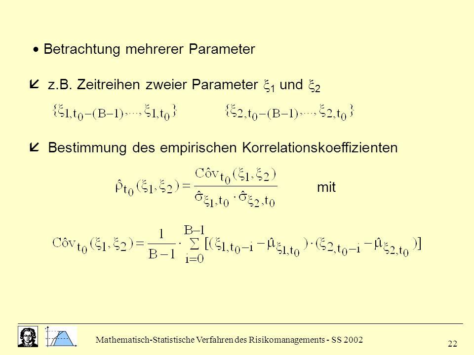 Mathematisch-Statistische Verfahren des Risikomanagements - SS 2002 22 Betrachtung mehrerer Parameter z.B. Zeitreihen zweier Parameter 1 und 2 Bestimm