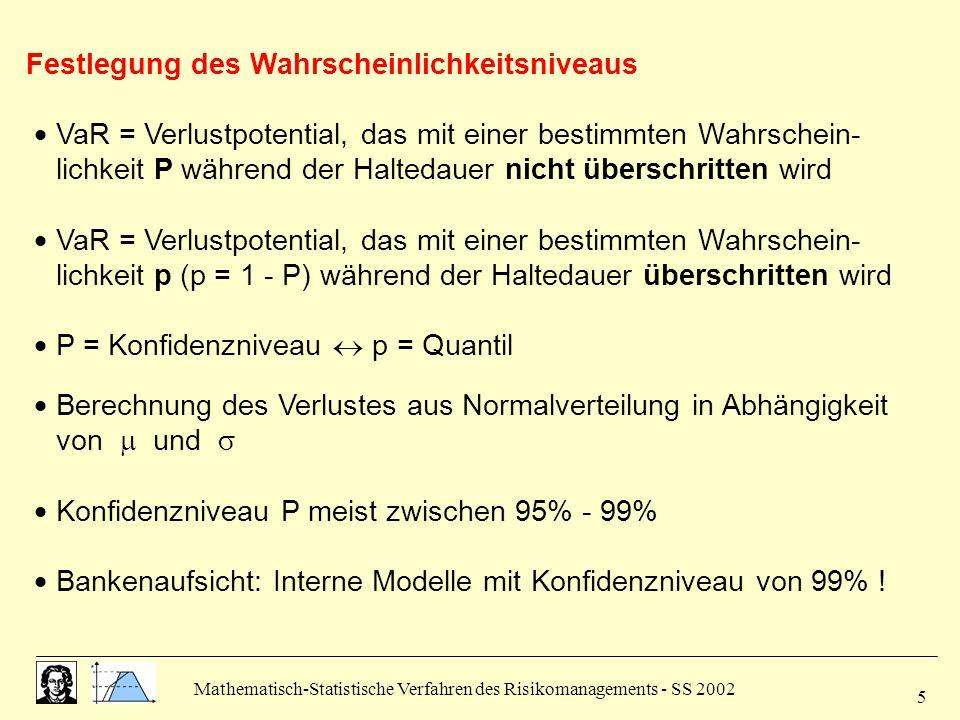 Mathematisch-Statistische Verfahren des Risikomanagements - SS 2002 6 2.2 Varianz- Kovarianz-Ansatz verschiedene Verfahren, die sich hinsichtlich der Modellvariablen unterscheiden (Wertänderungen, Rendite, Marktparameter) jede der Modellvariablen = Zufallsgröße mit bekannter Verteilung Darstellung der Berechnungsverfahren in Realität Verteilung der Zufallsgröße unbekannt statistische Verfahren zur Ermittlung der Verteilung