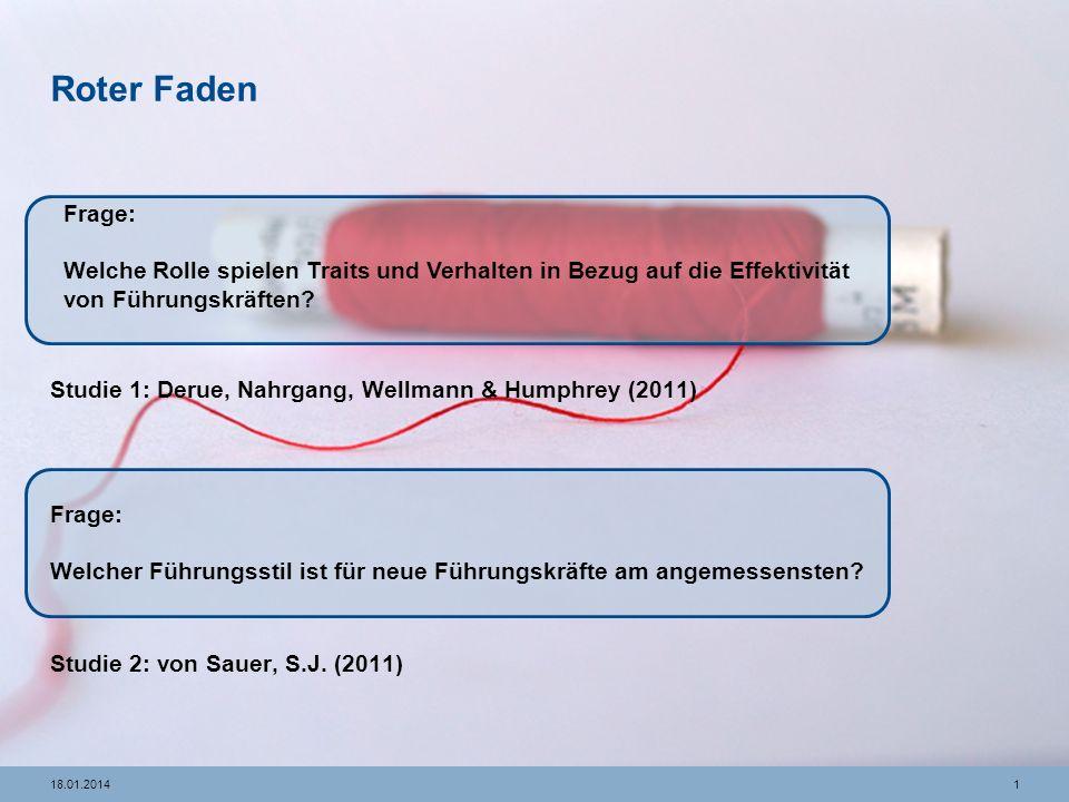 118.01.2014 Roter Faden Studie 1: Derue, Nahrgang, Wellmann & Humphrey (2011) Studie 2: von Sauer, S.J.