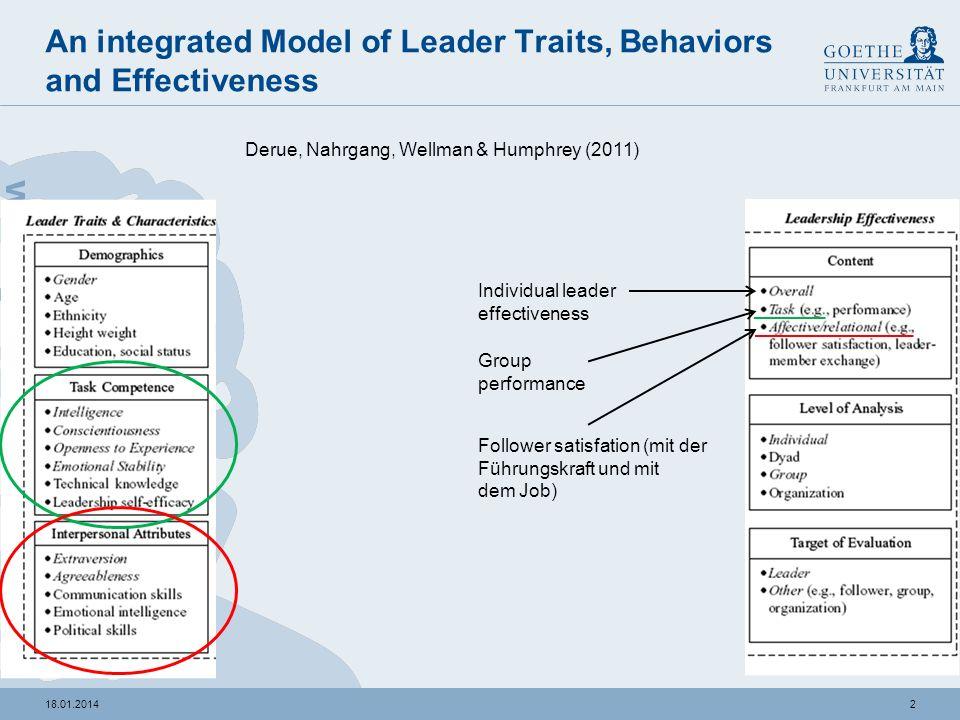 118.01.2014 Roter Faden Studie 1: Derue, Nahrgang, Wellmann & Humphrey (2011) Studie 2: von Sauer, S.J. (2011) Frage: Welcher Führungsstil ist für neu