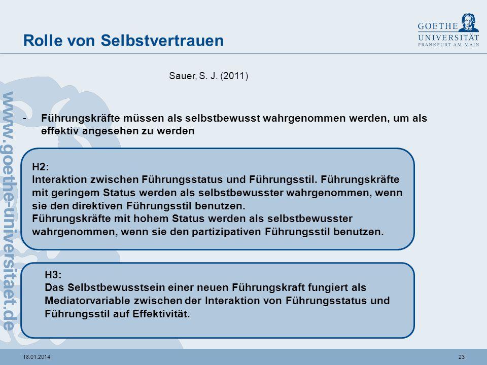 2218.01.2014 Status der Führungskraft als Moderator Sauer, S. J. (2011) H1: Interaktion zwischen Führungsstatus und Führungsstil. Führungskräfte mit g