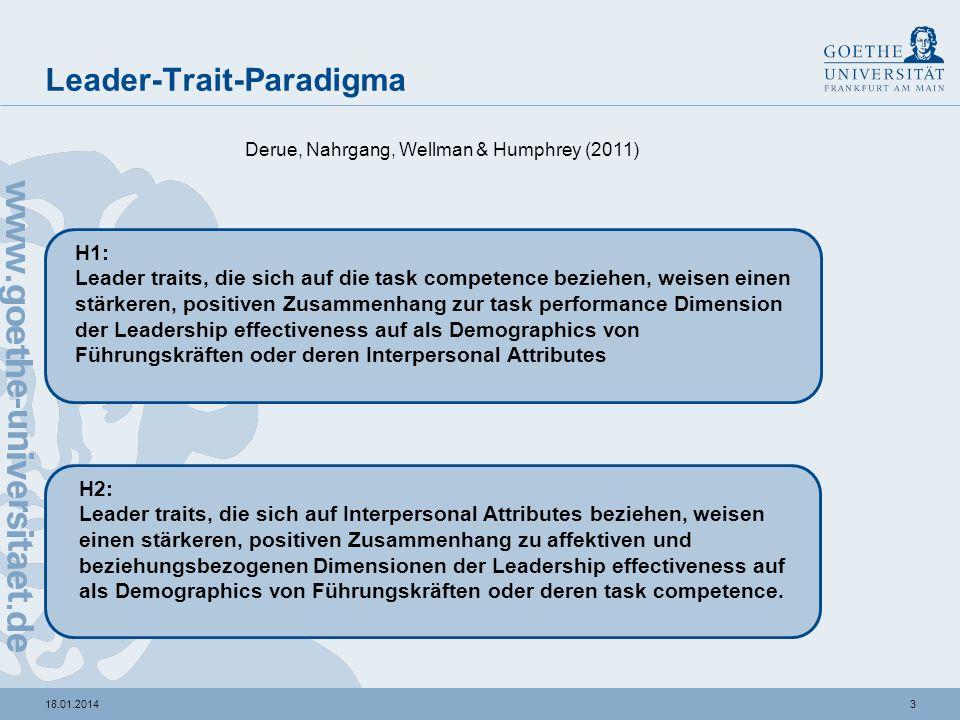 218.01.2014 An integrated Model of Leader Traits, Behaviors and Effectiveness Derue, Nahrgang, Wellman & Humphrey (2011) Individual leader effectivene