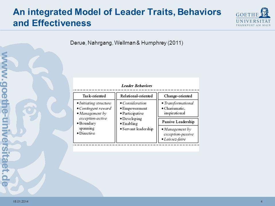318.01.2014 Leader-Trait-Paradigma Derue, Nahrgang, Wellman & Humphrey (2011) H1: Leader traits, die sich auf die task competence beziehen, weisen ein