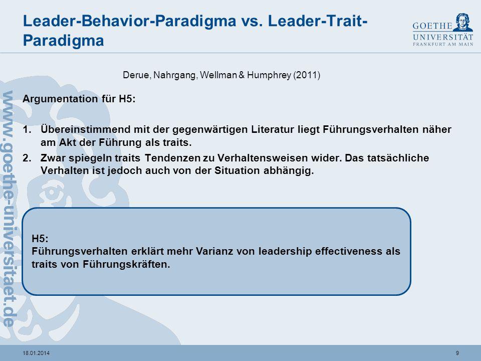 818.01.2014 Leader-Behavior-Paradigma Annahmen: -Die Validität der verschiedenen Leader-Verhaltensweisen variieren je nach Leadership Effectiveness Kr