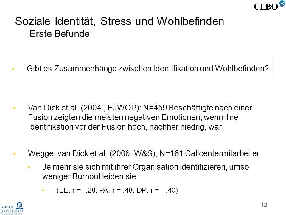 12 Van Dick et al. (2004, EJWOP): N=459 Beschäftigte nach einer Fusion zeigten die meisten negativen Emotionen, wenn ihre Identifikation vor der Fusio