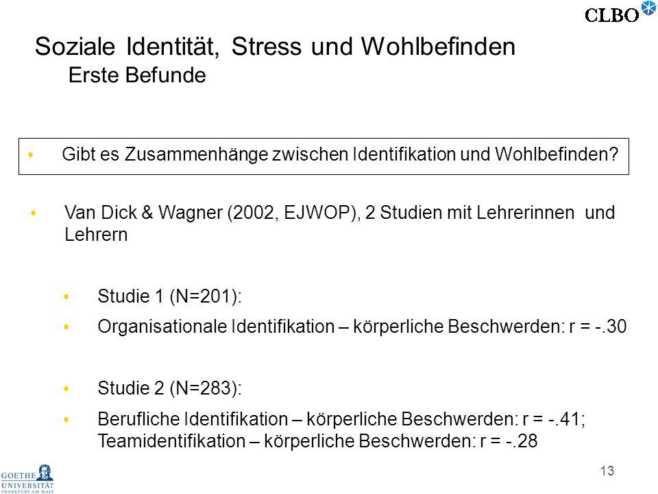 13 Van Dick & Wagner (2002, EJWOP), 2 Studien mit Lehrerinnen und Lehrern Studie 1 (N=201): Organisationale Identifikation – körperliche Beschwerden: