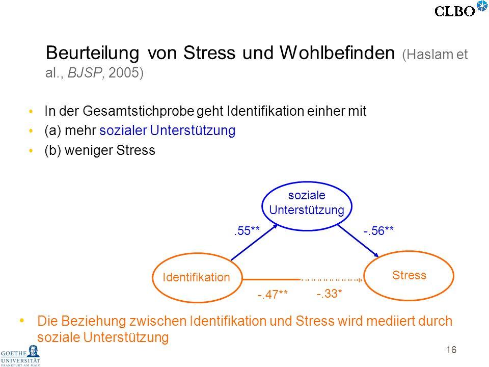 16 In der Gesamtstichprobe geht Identifikation einher mit (a) mehr sozialer Unterstützung (b) weniger Stress Die Beziehung zwischen Identifikation und