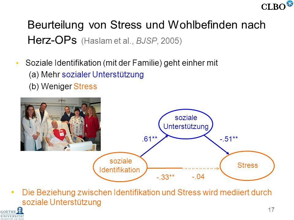 17 Soziale Identifikation (mit der Familie) geht einher mit (a) Mehr sozialer Unterstützung (b) Weniger Stress soziale Identifikation Stress -.33** so