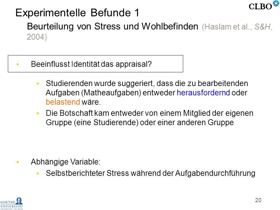 20 Experimentelle Befunde 1 Beurteilung von Stress und Wohlbefinden (Haslam et al., S&H, 2004) Beeinflusst Identität das appraisal? Studierenden wurde