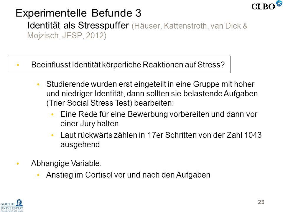 23 Experimentelle Befunde 3 Identität als Stresspuffer (Häuser, Kattenstroth, van Dick & Mojzisch, JESP, 2012) Beeinflusst Identität körperliche Reakt
