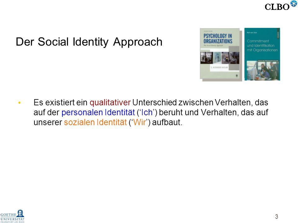 3 Der Social Identity Approach Es existiert ein qualitativer Unterschied zwischen Verhalten, das auf der personalen Identität (Ich) beruht und Verhalt