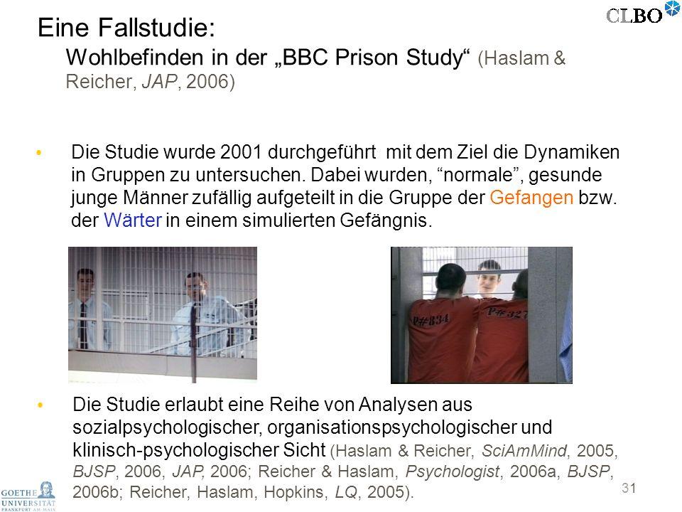 31 Eine Fallstudie: Wohlbefinden in der BBC Prison Study (Haslam & Reicher, JAP, 2006) Die Studie wurde 2001 durchgeführt mit dem Ziel die Dynamiken i