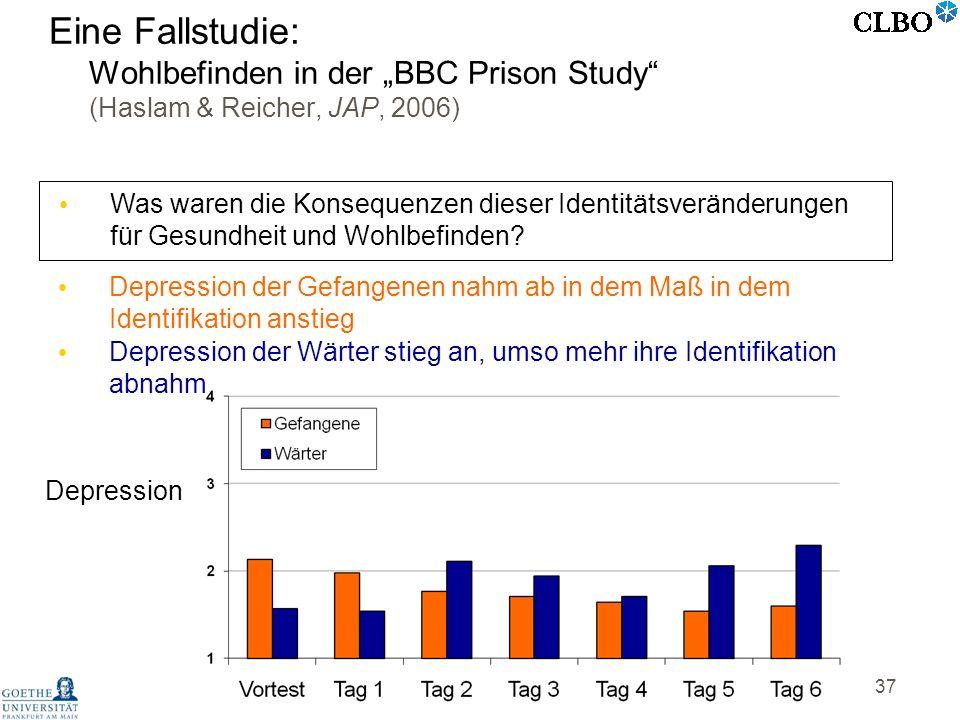 37 Was waren die Konsequenzen dieser Identitätsveränderungen für Gesundheit und Wohlbefinden? Depression Depression der Gefangenen nahm ab in dem Maß
