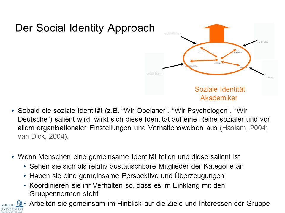 Sobald die soziale Identität (z.B. Wir Opelaner, Wir Psychologen, Wir Deutsche) salient wird, wirkt sich diese Identität auf eine Reihe sozialer und v