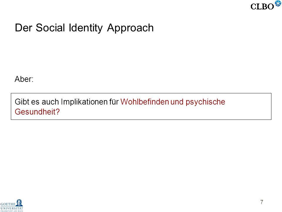 7 Der Social Identity Approach Aber: Gibt es auch Implikationen für Wohlbefinden und psychische Gesundheit?