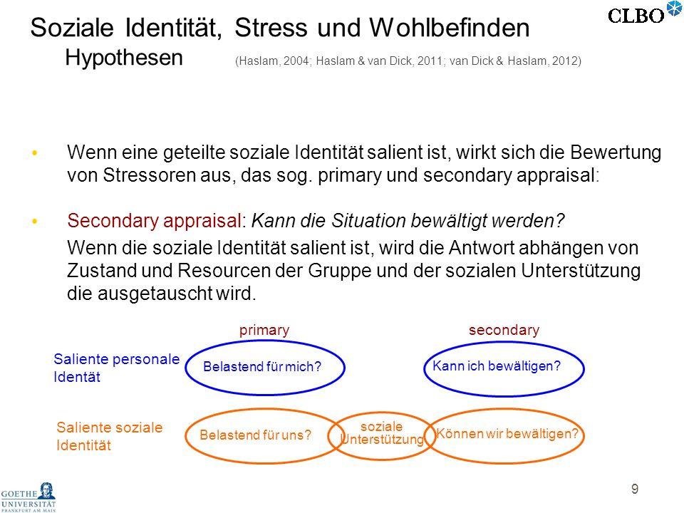 9 Wenn eine geteilte soziale Identität salient ist, wirkt sich die Bewertung von Stressoren aus, das sog. primary und secondary appraisal: soziale Unt