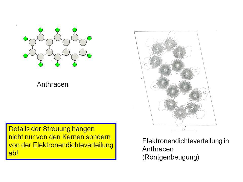 Anthracen Elektronendichteverteilung in Anthracen (Röntgenbeugung) Details der Streuung hängen nicht nur von den Kernen sondern von der Elektronendich