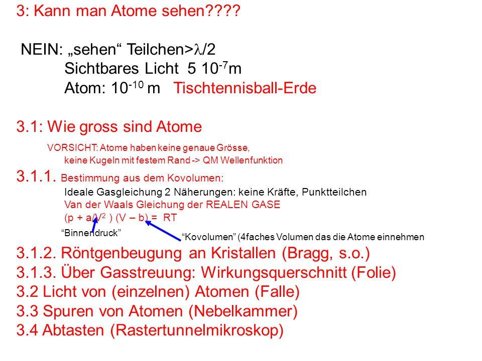 3: Kann man Atome sehen???? NEIN: sehen Teilchen> /2 Sichtbares Licht 5 10 -7 m Atom: 10 -10 m Tischtennisball-Erde 3.1: Wie gross sind Atome VORSICHT