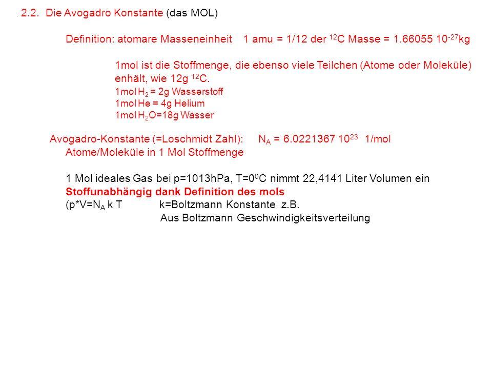 . 2.2. Die Avogadro Konstante (das MOL) Definition: atomare Masseneinheit 1 amu = 1/12 der 12 C Masse = 1.66055 10 -27 kg 1mol ist die Stoffmenge, die