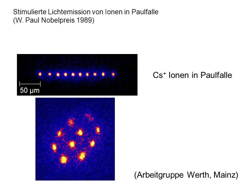 (Arbeitgruppe Werth, Mainz) Cs + Ionen in Paulfalle Stimulierte Lichtemission von Ionen in Paulfalle (W. Paul Nobelpreis 1989)