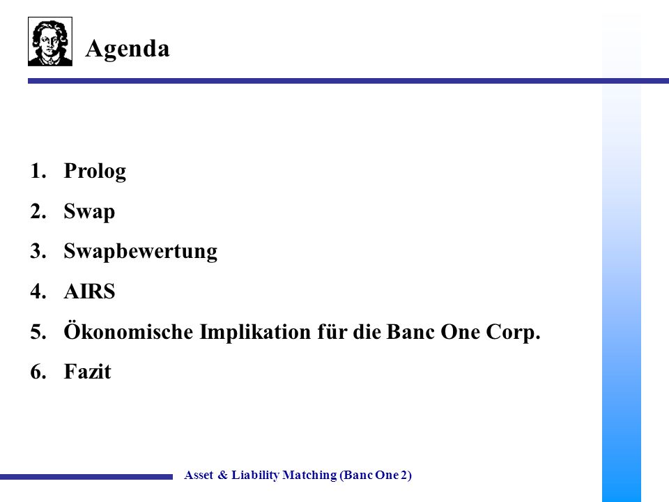 43 Fazit Weitere Vorgehensweise Asset & Liability Matching (Banc One 2) Reduktion des Swapportfolios Beschränkung der Filialenselbständigkeit (Hedging bereits auf dieser Ebene) Einsatz von anderen Hedgingmöglichkeiten (Asset - Liability Management mit Hilfe von Durationskonzepten etc.)