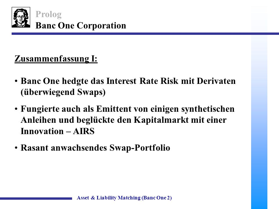 34 Banc One Corporation Off-Balance Sheet Geschäfte Asset & Liability Matching (Banc One 2) Liabilities and Equity Floating-rate liabilities Retail deposits19.3 Wholesale deposits8.8 Add.wholesale deposits018.4 Fixed-rate liabilities Fixed core deposits23.8 Large time deposits2.3 Other liabilities13.4 TOTAL LIABILITIES67.686.0 Preferred Shares0.3 Common Shares6.4 TOTAL74.292.6 Off-balance sheet items Swaps18.400 $ in billionsBANC ONETWIN A (Swaps in Bilanz) TWIN B (keine Investitionen)