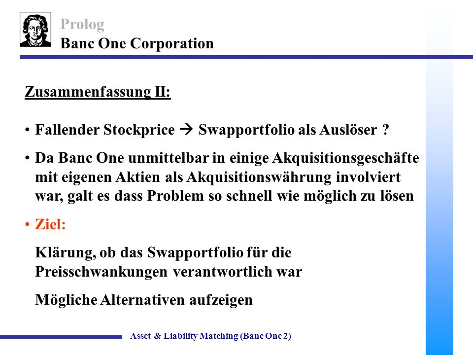 35 Banc One Corporation Off-Balance Sheet Geschäfte Asset & Liability Matching (Banc One 2) $ in billionsBANC ONETWIN A (Swaps in Bilanz) TWIN B (keine Investitionen) Income Statement Total interest income5.476.265.66 Total interest expense1.832.40 Income from Swaps0.4600 Net interest4.093.853.25 Taxable earnings1.721.480.88 Taxes0.590.500.30 Net income1.140.980.58 Performance Measures (in %) Net interest margin6.224.583.86 Return on assets1.531.060.63 Return on equity17.8915.429.19 Earnings sensitivity-3.30 12.88