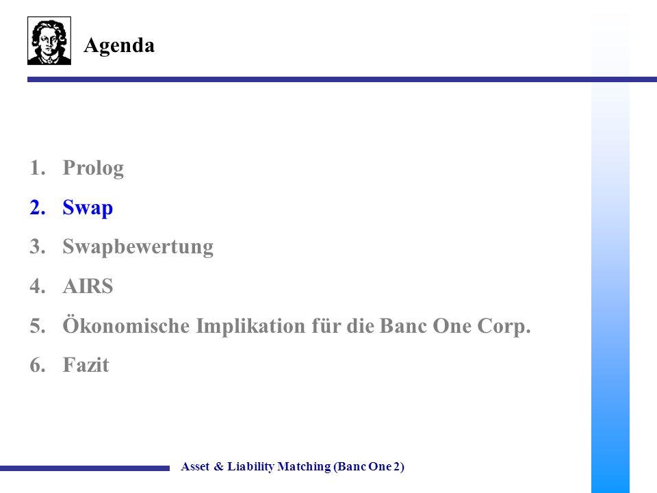 36 Banc One Corporation Off-Balance Sheet Geschäfte Asset & Liability Matching (Banc One 2) In der Bilanz von Banc One wird eine Position Income from Swaps angegeben.