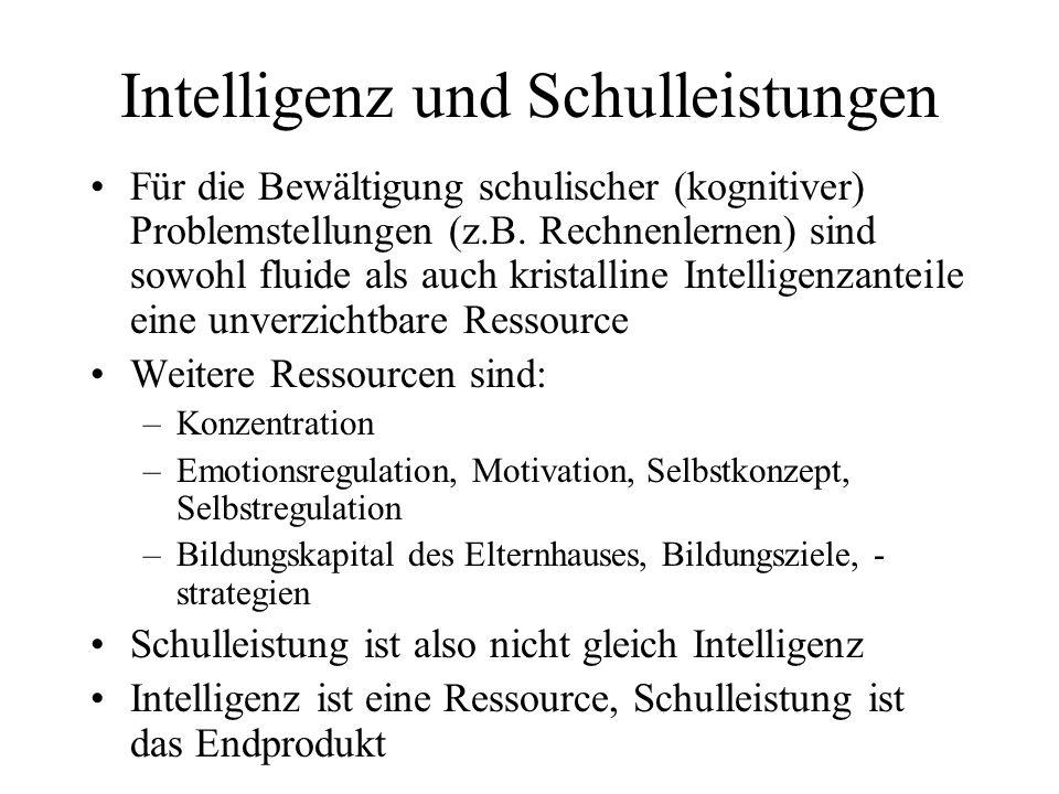 Intelligenz und Schulleistungen Für die Bewältigung schulischer (kognitiver) Problemstellungen (z.B. Rechnenlernen) sind sowohl fluide als auch krista