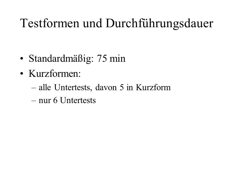 Testformen und Durchführungsdauer Standardmäßig: 75 min Kurzformen: –alle Untertests, davon 5 in Kurzform –nur 6 Untertests