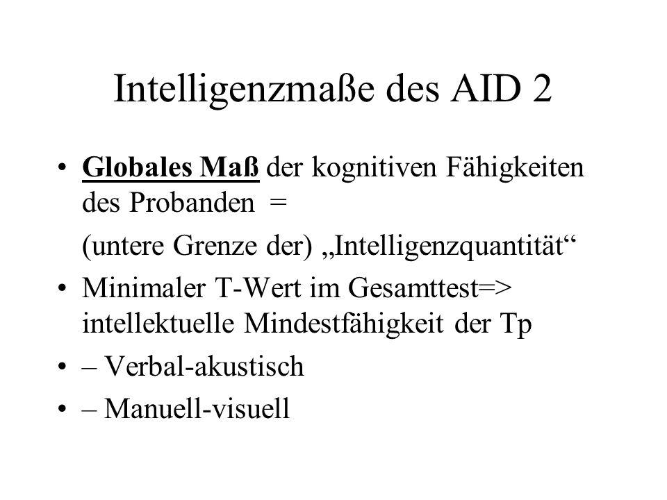 Intelligenzmaße des AID 2 Globales Maß der kognitiven Fähigkeiten des Probanden = (untere Grenze der) Intelligenzquantität Minimaler T-Wert im Gesamtt