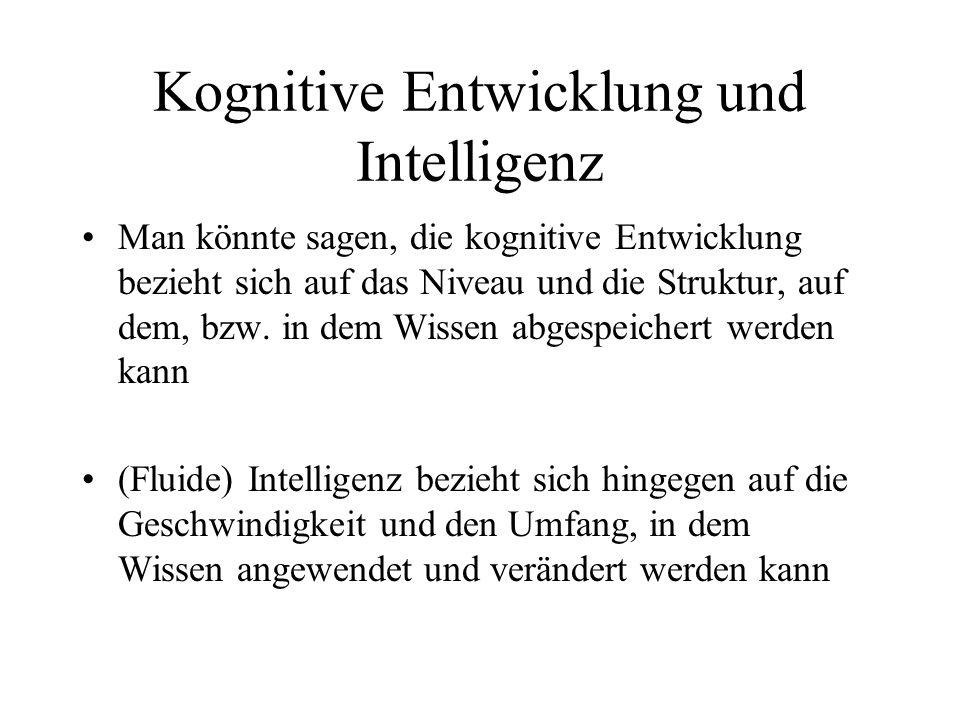 Kognitive Entwicklung und Intelligenz Man könnte sagen, die kognitive Entwicklung bezieht sich auf das Niveau und die Struktur, auf dem, bzw. in dem W