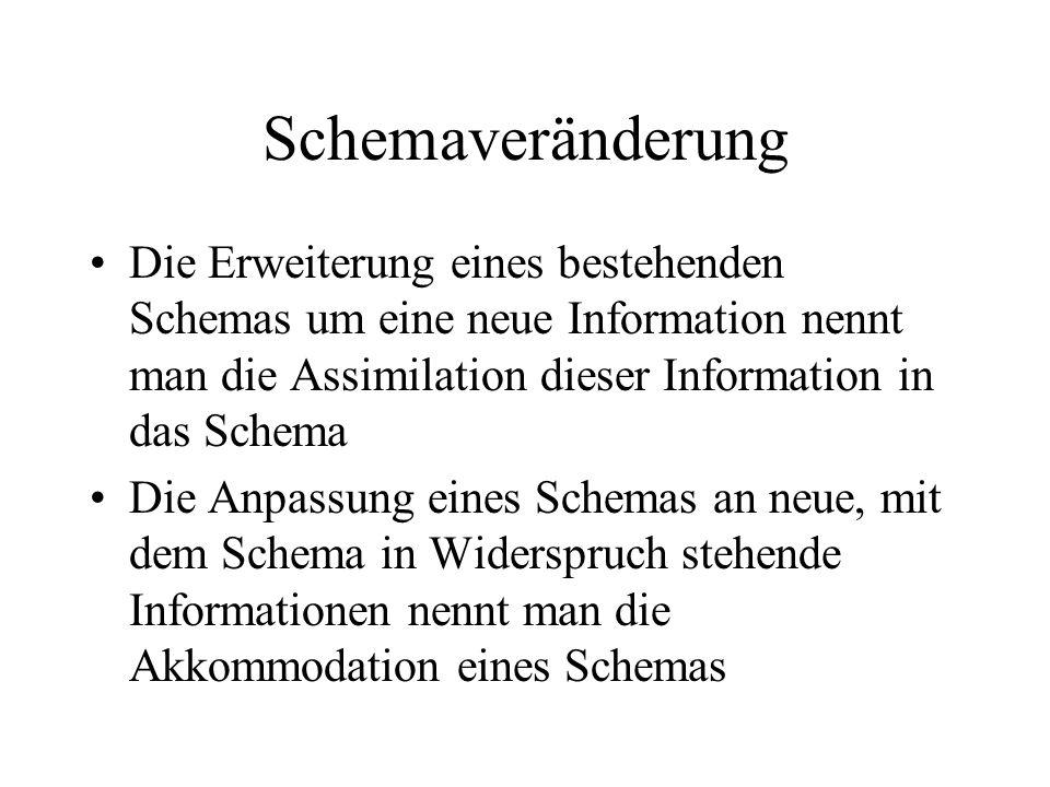 Schemaveränderung Die Erweiterung eines bestehenden Schemas um eine neue Information nennt man die Assimilation dieser Information in das Schema Die A