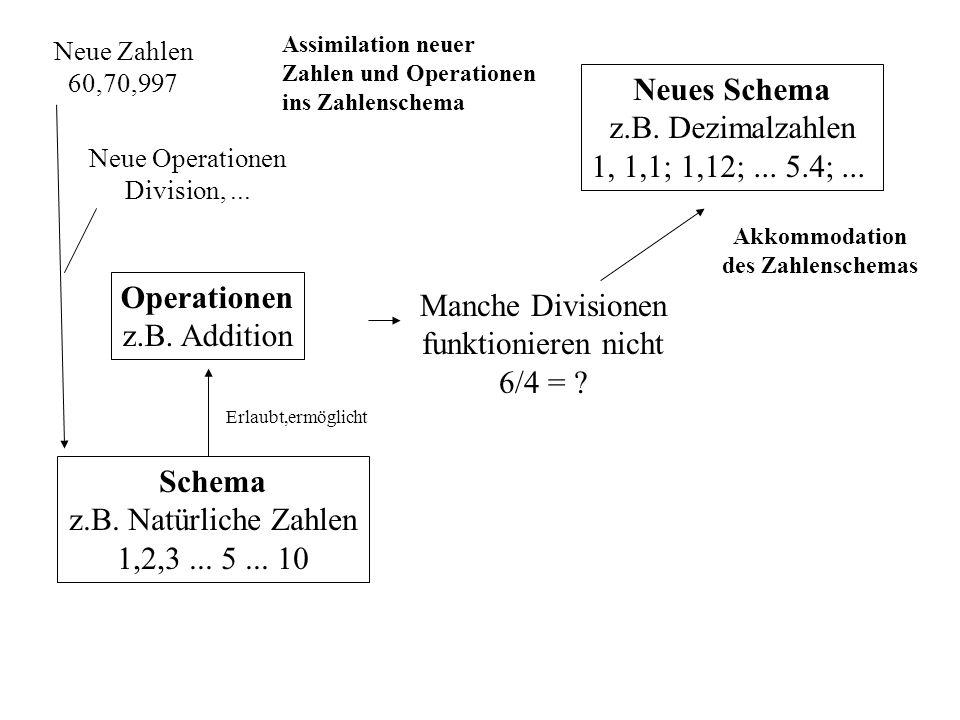 Schema z.B. Natürliche Zahlen 1,2,3... 5... 10 Operationen z.B. Addition Erlaubt,ermöglicht Neue Zahlen 60,70,997 Assimilation neuer Zahlen und Operat