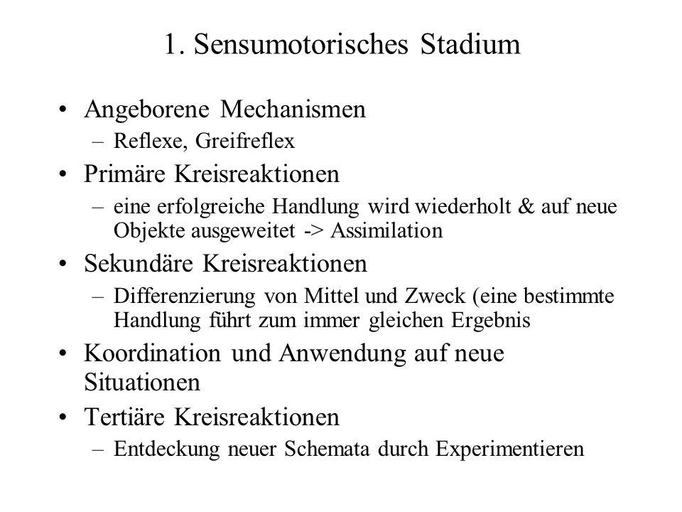1. Sensumotorisches Stadium Angeborene Mechanismen –Reflexe, Greifreflex Primäre Kreisreaktionen –eine erfolgreiche Handlung wird wiederholt & auf neu