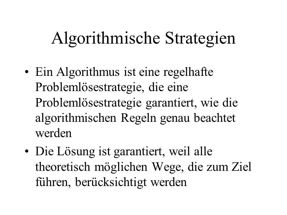 Algorithmische Strategien Ein Algorithmus ist eine regelhafte Problemlösestrategie, die eine Problemlösestrategie garantiert, wie die algorithmischen