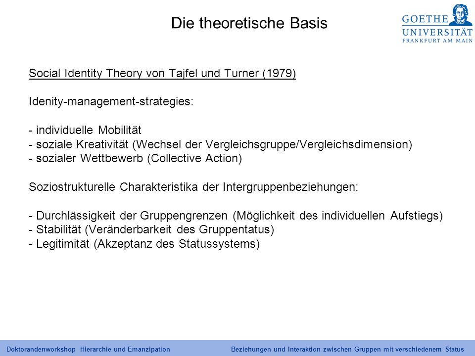 Doktorandenworkshop Hierarchie und Emanzipation Beziehungen und Interaktion zwischen Gruppen mit verschiedenem Status Die theoretische Basis Social Id