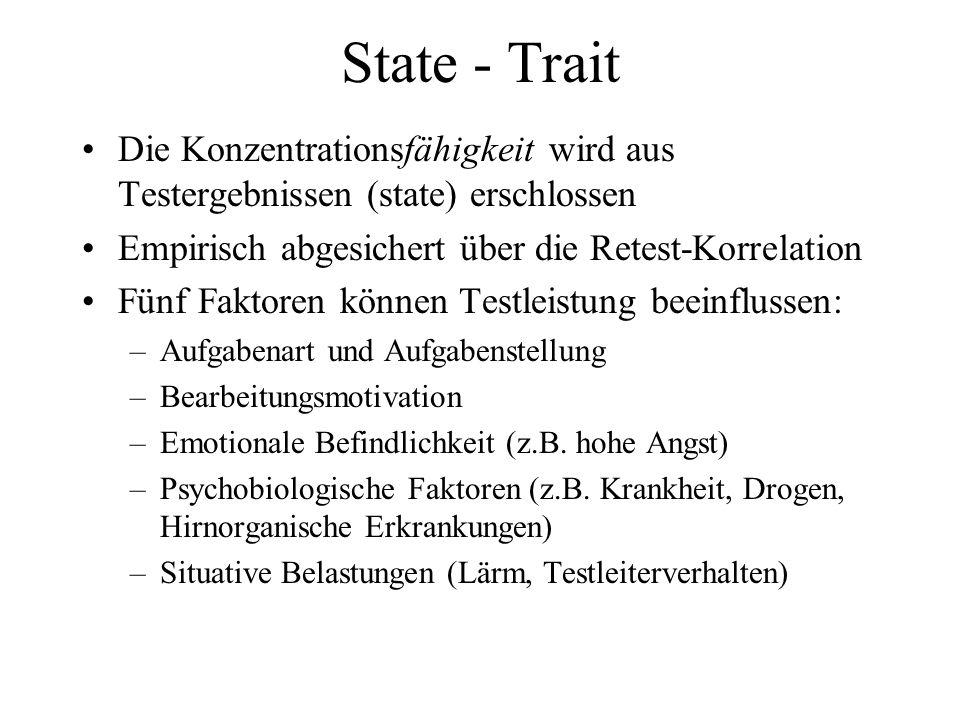 State - Trait Die Konzentrationsfähigkeit wird aus Testergebnissen (state) erschlossen Empirisch abgesichert über die Retest-Korrelation Fünf Faktoren