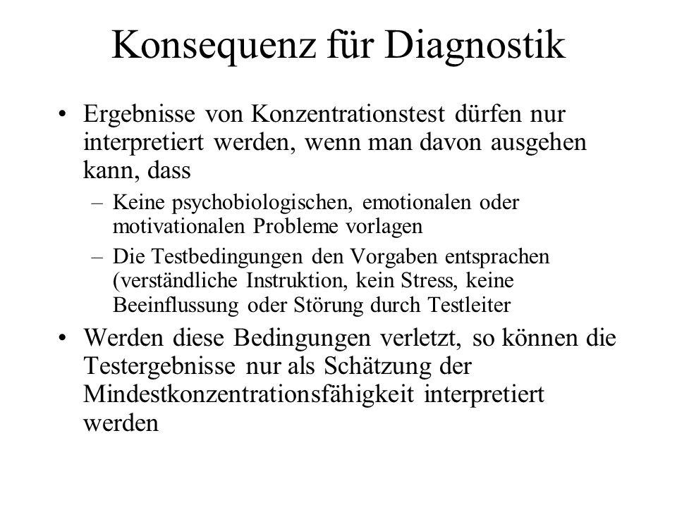 Konsequenz für Diagnostik Ergebnisse von Konzentrationstest dürfen nur interpretiert werden, wenn man davon ausgehen kann, dass –Keine psychobiologisc