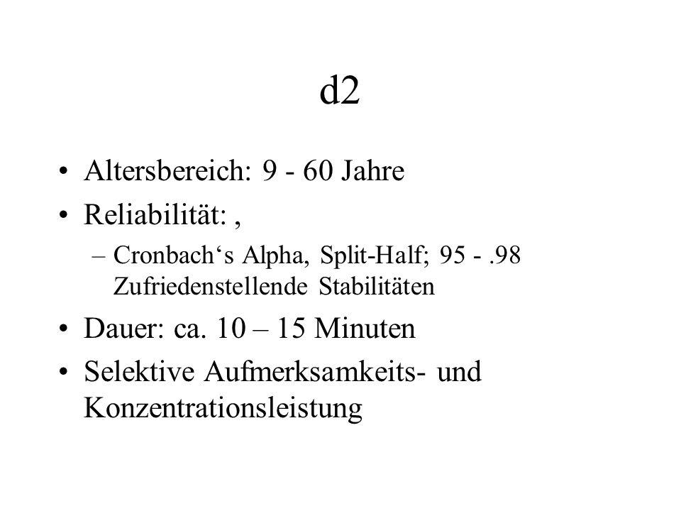 d2 Altersbereich: 9 - 60 Jahre Reliabilität:, –Cronbachs Alpha, Split-Half; 95 -.98 Zufriedenstellende Stabilitäten Dauer: ca. 10 – 15 Minuten Selekti