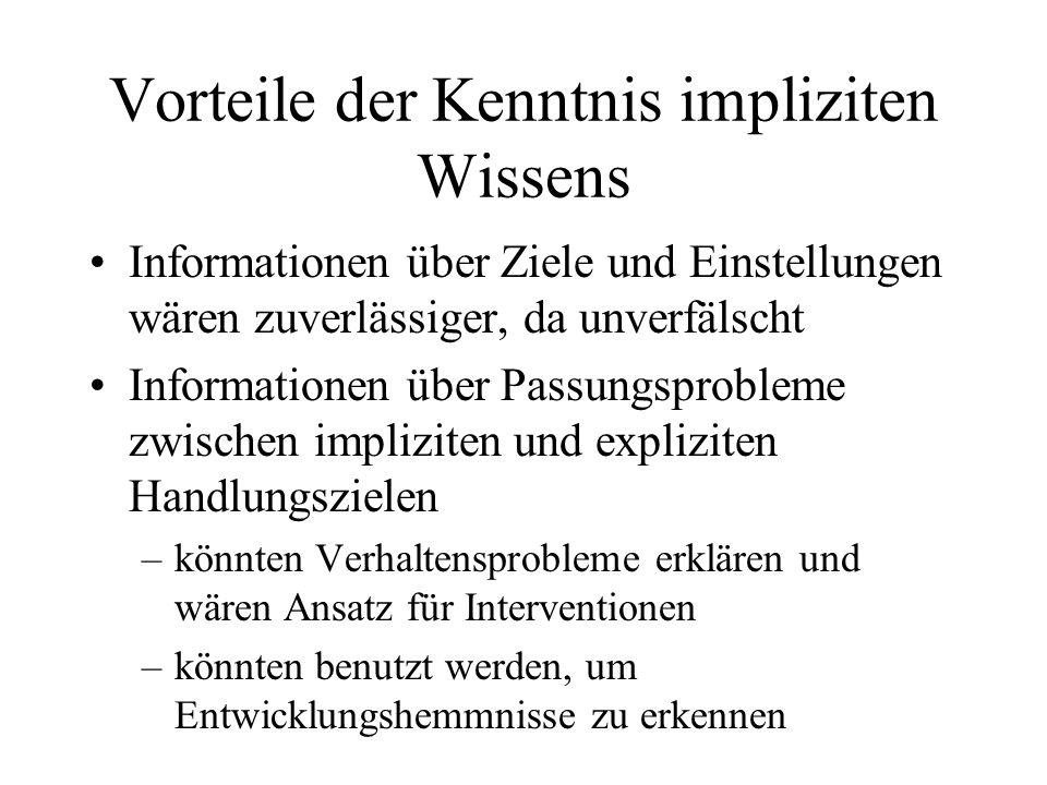 Vorteile der Kenntnis impliziten Wissens Informationen über Ziele und Einstellungen wären zuverlässiger, da unverfälscht Informationen über Passungspr