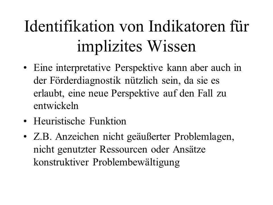 Identifikation von Indikatoren für implizites Wissen Eine interpretative Perspektive kann aber auch in der Förderdiagnostik nützlich sein, da sie es e