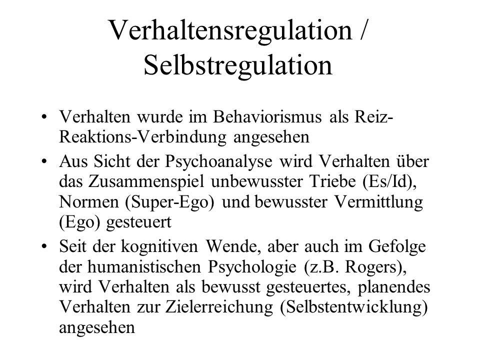 Verhaltensregulation / Selbstregulation Verhalten wurde im Behaviorismus als Reiz- Reaktions-Verbindung angesehen Aus Sicht der Psychoanalyse wird Ver