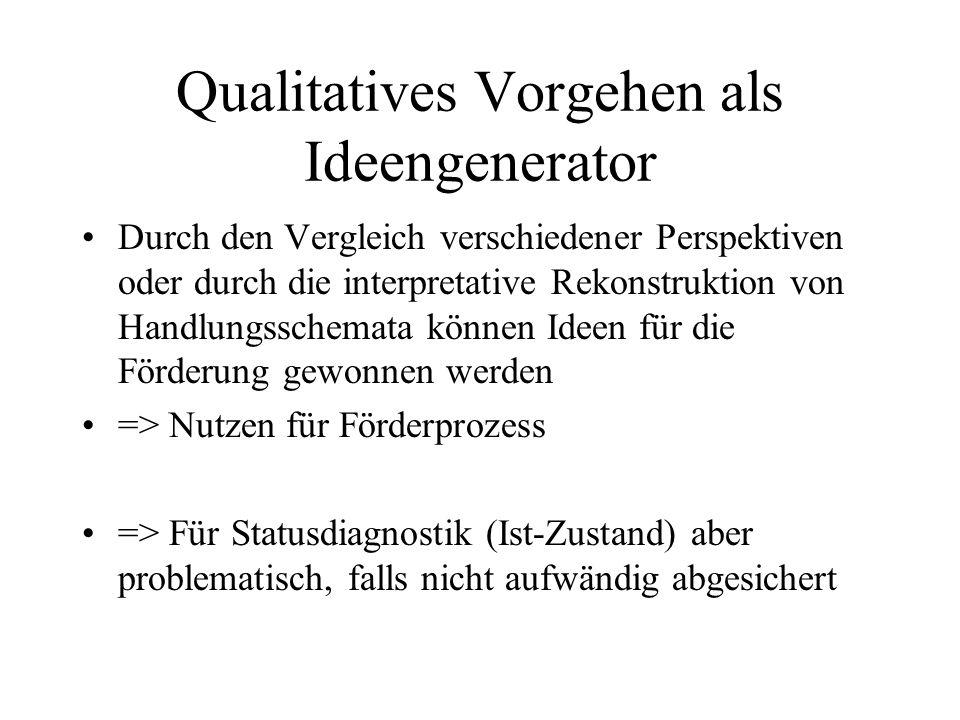 Qualitatives Vorgehen als Ideengenerator Durch den Vergleich verschiedener Perspektiven oder durch die interpretative Rekonstruktion von Handlungssche